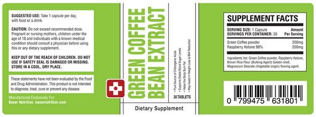 ingrédients du café vert